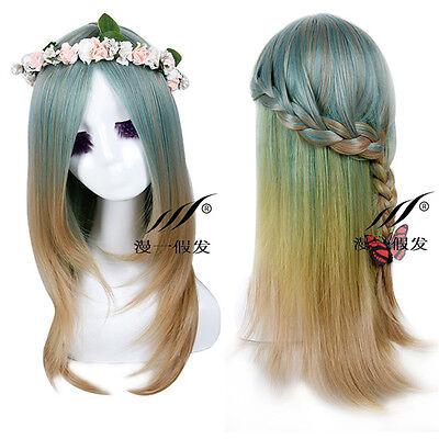 Mori Girl Green Mix Cosplay Costume Anime Wig Straight Long Hair Full Wigs