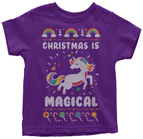Christmas Is Magical Unicorn Ugly Christmas Toddler T-Shirt