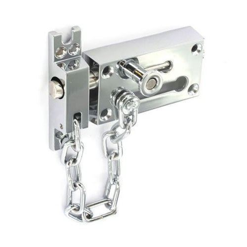 Securit S1637 Chrome Plated Door Bolt Lock and Security Chain 80mm//3""