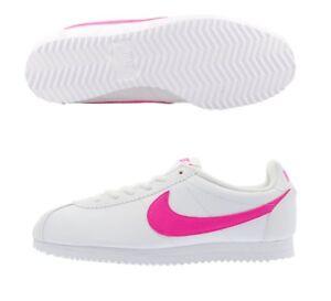 Detalles de Nike Cortez Zapatillas Niñas Talla 5 5.5 Blanco Rosa Blast Nuevo