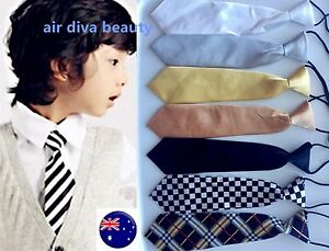 Boys-Kids-Child-Elastic-String-Wedding-Party-Formal-Casual-Satin-tuxedo-Neck-Tie