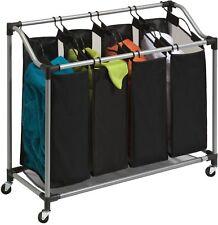4 Bag Laundry Sorter Heavy Duty Removable Mesh Hamper Basket Bin Wheels