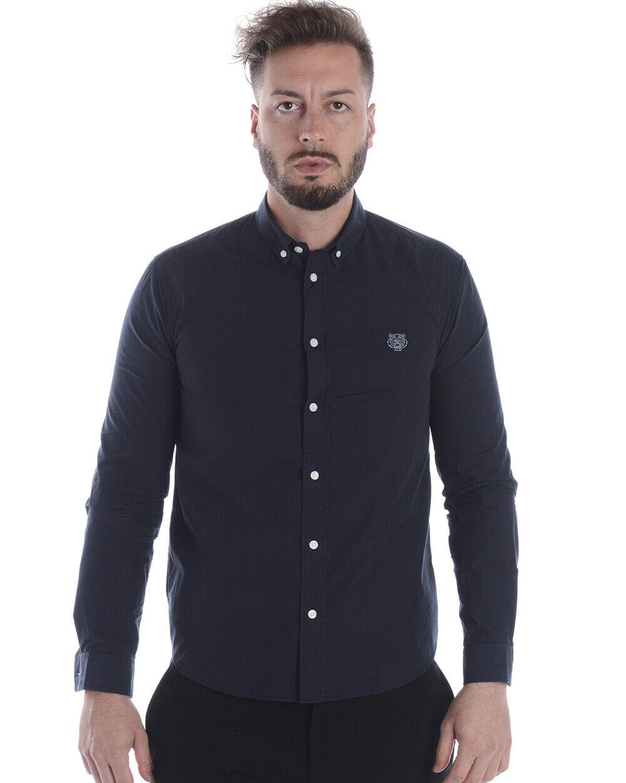 Kenzo Shirt TIGER Cotton Man bluee 1LA5CH400 78 Sz.L MAKE OFFER