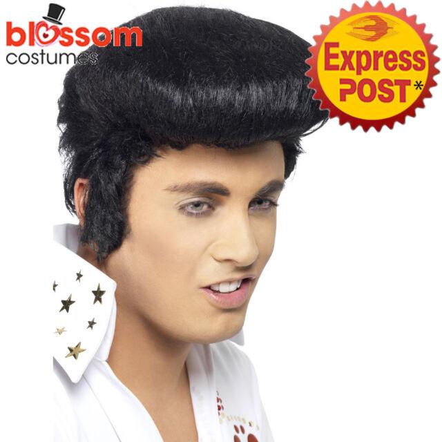 W466 Deluxe Elvis Mens Rock and Roll Presley 1950s Black Fancy Dress Costume Wig