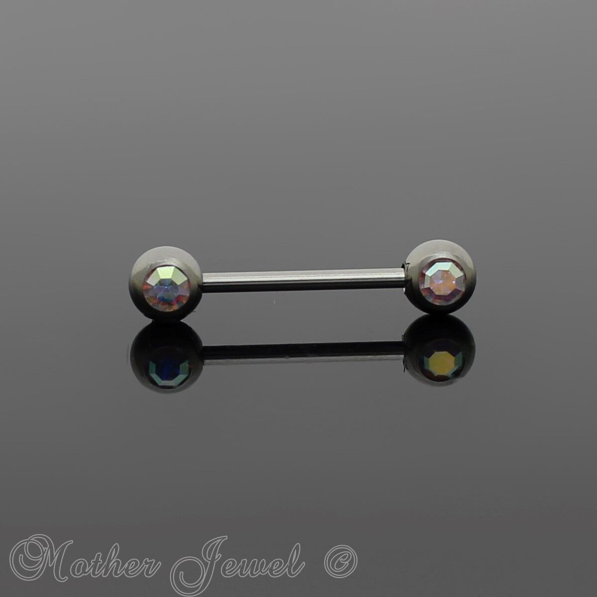 Covet Jewelry Double Front Facing Gem 316L Surgical Steel Barbell//Nipple Bar