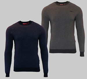 Superdry-Mens-New-Orange-Label-Crew-Neck-Cotton-Jumper-Long-Sleeve-Grey-Navy