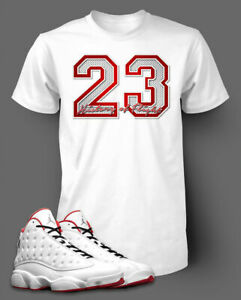 23-Graphic-T-shirt-To-match-Air-Jordan-13-History-of-Flight-shoe-Men-039-s-Tee-Shirt