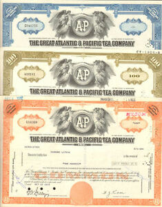 Set-of-3-gt-A-amp-P-supermarket-store-Great-Atlantic-amp-Pacific-Tea-stock-certificates