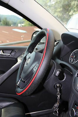 Red PVC Leather Steering Wheel Wrap Cover Needle Thread DIY Chevy Camaro Black