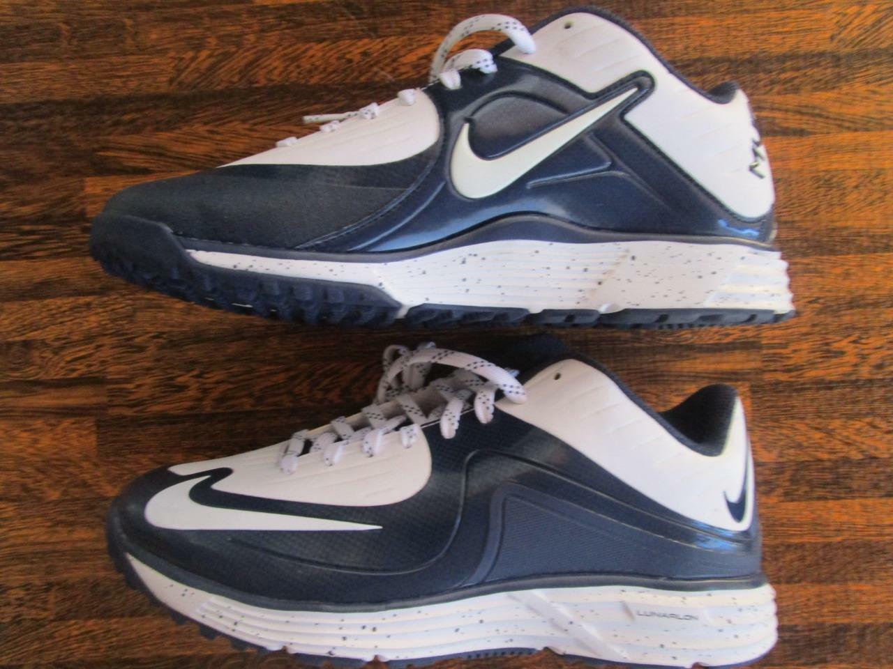 Nike Lunar MVP MVP MVP Baseball Pregame 2 Trainer Turf shoes Cleats 7.5 White Navy dccc5c