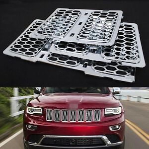 chrome front grill mesh grille insert kit for jeep grand cherokee 2014 2015 2016 ebay. Black Bedroom Furniture Sets. Home Design Ideas