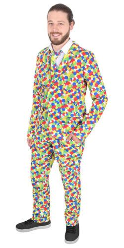 Kostüm 4 Größen Auswahl  3 tlg. Herrenkostüm Confettici Karneval Muster Punkte