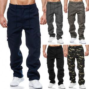 Herren Cargo Hose Warm Gefüttert Cargo Pants Unifarbe Camouflage Arbeitshose neu