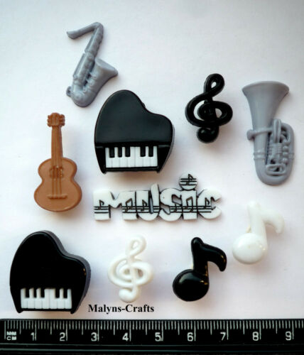 MUSIC TIME Craft Buttons 1ST CLASS POST Piano Musical Band Dance Guitar Note Fun