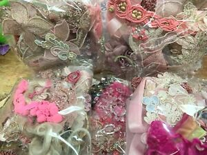 Assorted Appliques Panel Trim Pieces Pink Menagerie 1 Grab Bag
