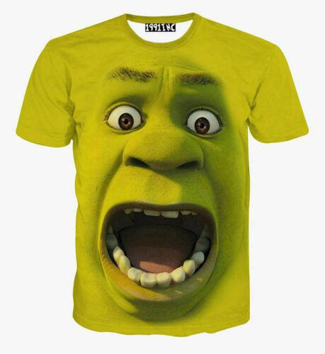 New Men/'s//Women/'s 3D Green Shrek short Sleeve T shirt round neck tee top S-7XL