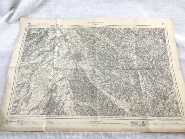 1883 Antik Französisch Landkarte Toulouse France Occitanie Region 19th Original Weich Und Rutschhemmend
