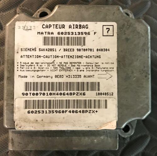Calculateur AIRBAG RENAULT ESPACE 3 6025313596F 5WK42851 SIEMENS BREED