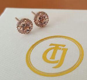 0-10tcw-Diamond-and-0-80tcw-Morganite-Stud-Earrings-18ct-18k-Rose-Gold-by-CTJ