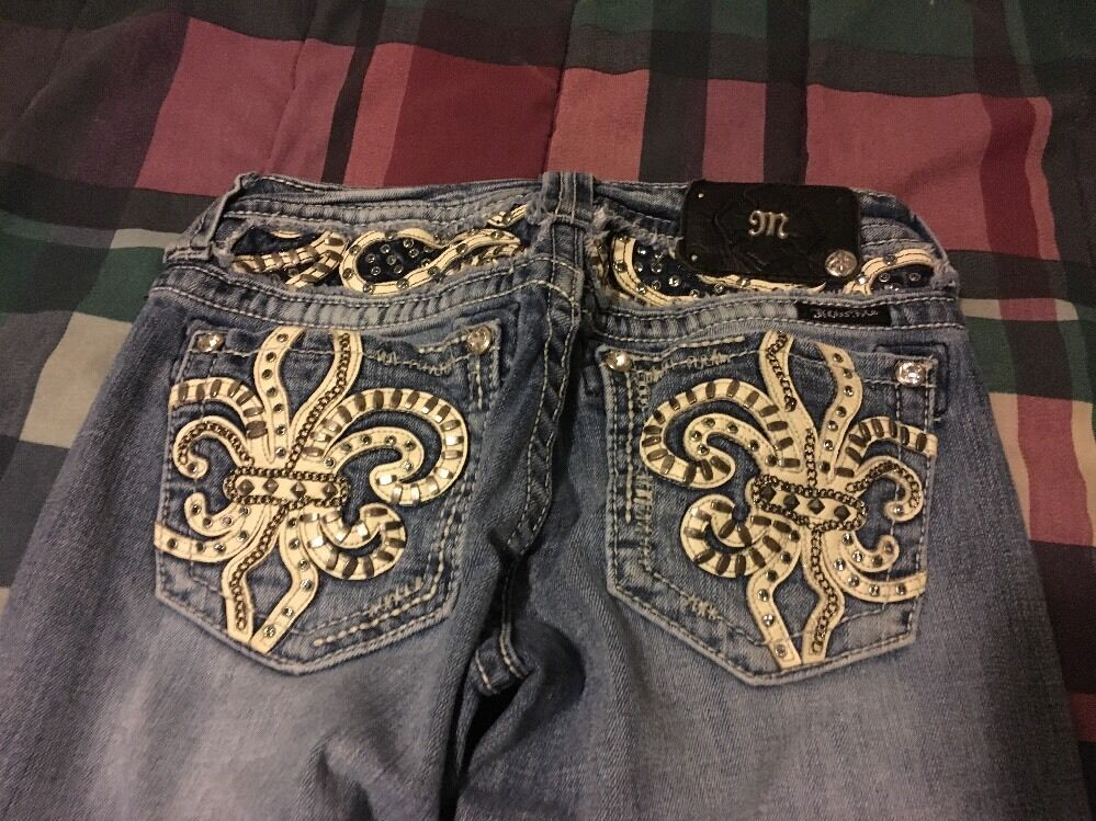 MISS ME JEAN SIZE 27 JE5736BR FLUER DE LIS Crystals Leather Chains Cute  Sexy