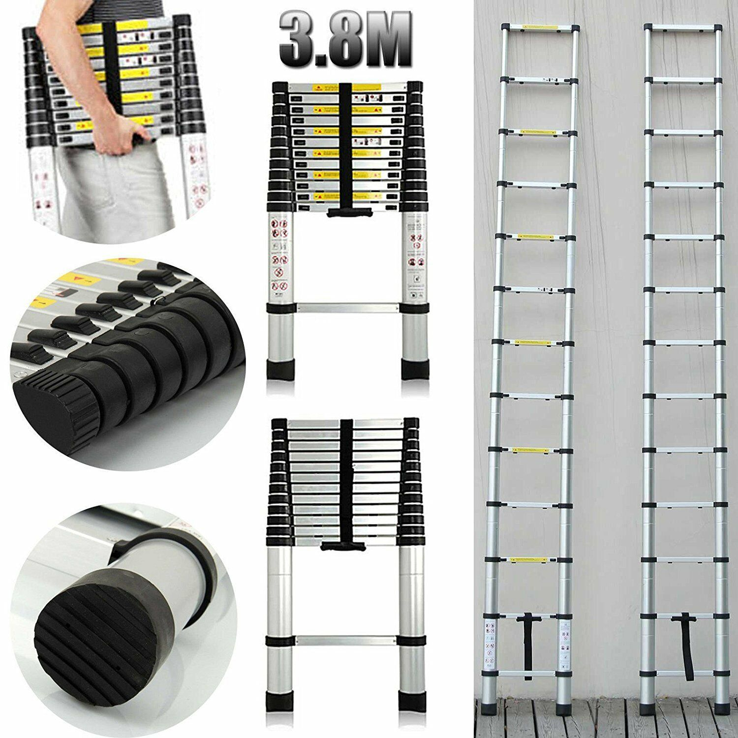 Folding Ladder Multi Purpose Telescopic Extension Aluminum Heavy Duty12.5FT