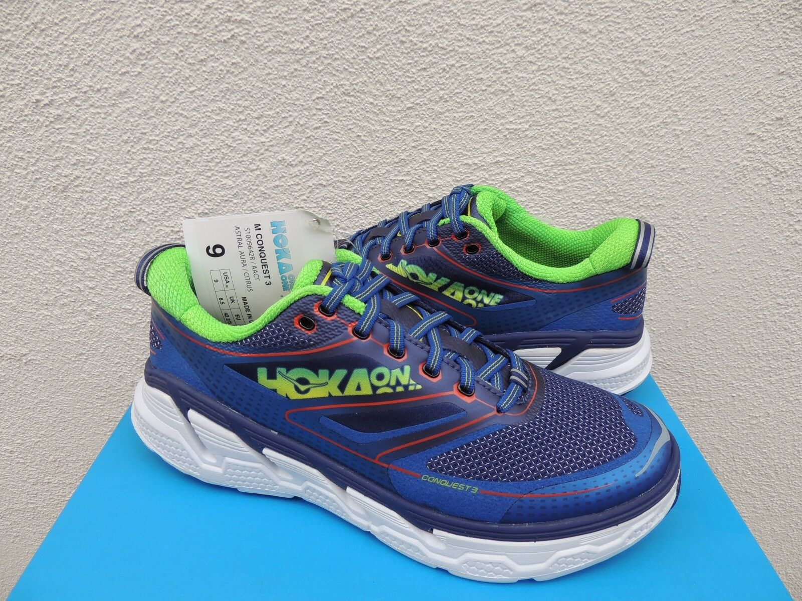 HOKA ONE ONE CONQUEST 3 ASTRAL AURA RUNNING schuhe, MEN US 9  EUR 42 2 3  NWT