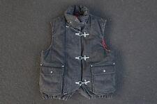 Vintage 90s Polo Ralph Lauren Denim Vest S Black Fireman Latch Clasp Jacket RRL
