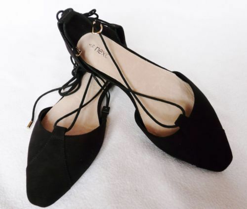 BNWT NEXT ladies black faux suede flat pointy toe lace up Ballerina Shoes flats