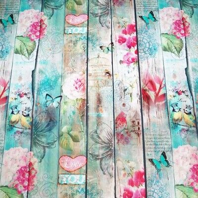 Couture Floral Fence Wood Digital Print 100% Cotton Fabric Half Panama Fabric