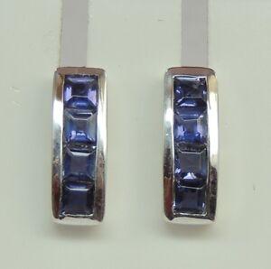 Edle-0-66-Carat-Iolith-Ohrstecker-Wassersaphir-925-Silber-Luchssaphir-Ohrring