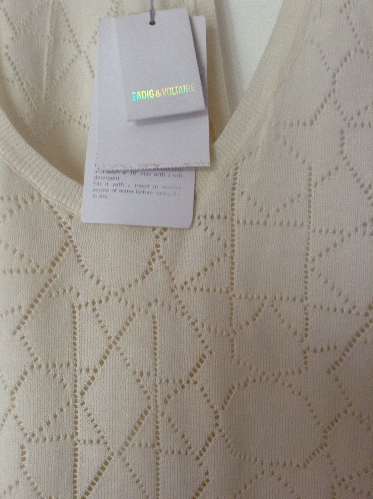 BNWT 100% Auth Zadig & Voltaire, Deby Pointelle Cream Iconic Tank Top M RRP