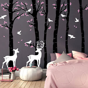 wandtattoo birkenst mme 3farbig 12276 baum hirsch reh v geln wald wand deko ebay. Black Bedroom Furniture Sets. Home Design Ideas