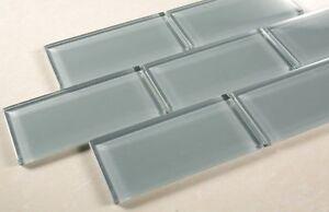 3x6 Blue Gray Glass Tile - Bathroom Tile & Kitchen Backsplash Tile
