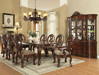 LORIAN 9 pieces Dining Room Furniture Cherry Brown Rectangular Table Chairs Set