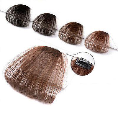 Fashion Human Hair Thin Neat Air Bangs Clip In Fringe Front Hairpiece