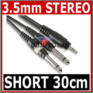 HIGH-QUALITY-3-5mm-Mini-STEREO-Jack-to-2x-6-35mm-1-4-MONO-Male-Plugs-Cable-30cm
