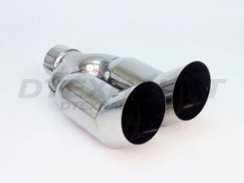 """DT-025s STAINLESS EXHAUST TIP DUAL TURN UP 2.25/"""" INLET 6.50 x 3.50/"""" OUT 11.25/""""L"""