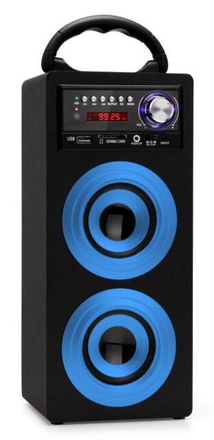 Mobil Bluetooth Lautsprecher USB SD AUX MP3 Player Radio Box Sound System blau