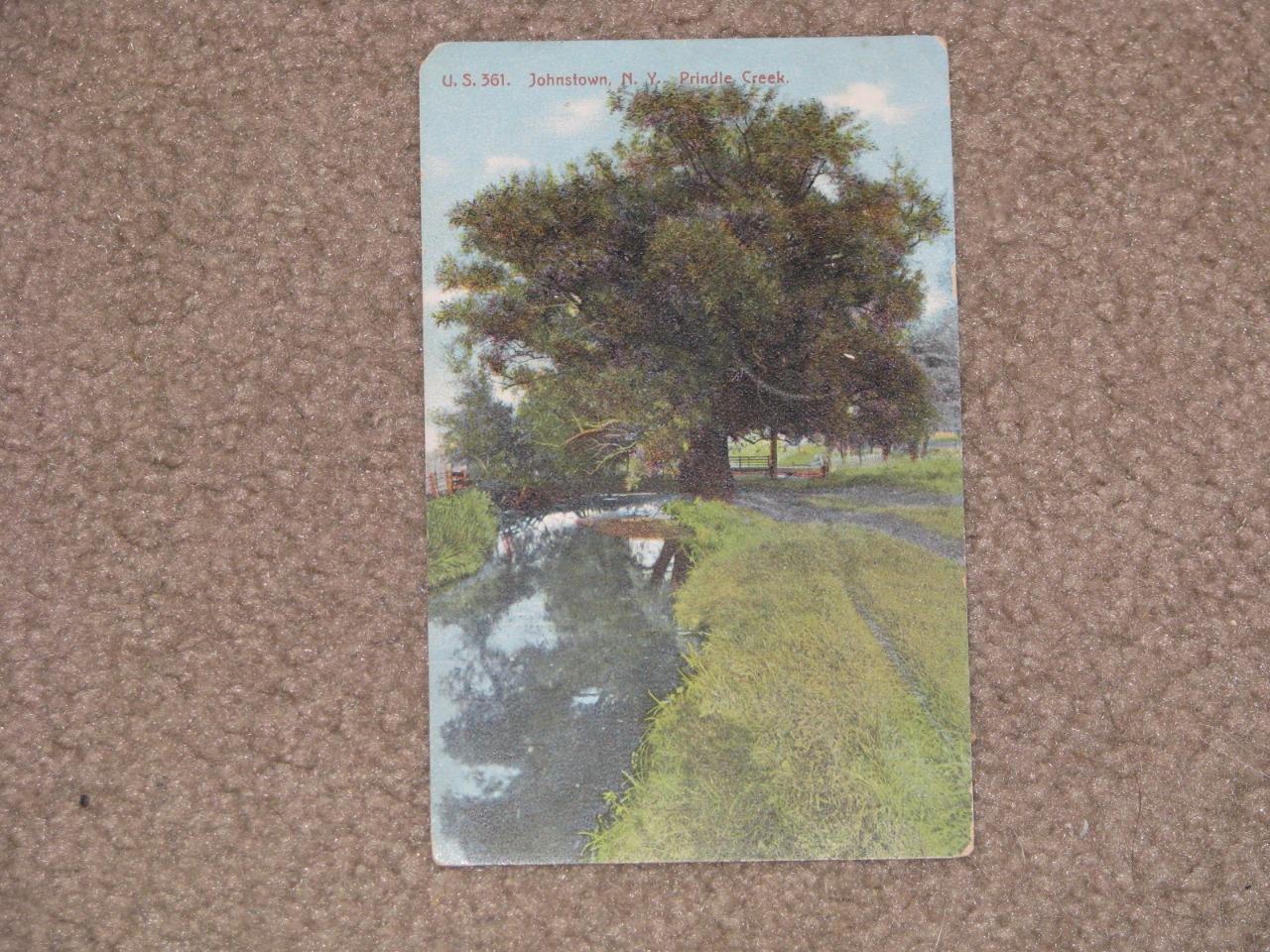 Prindle Creek, Johnstown, N.Y., used vintage card