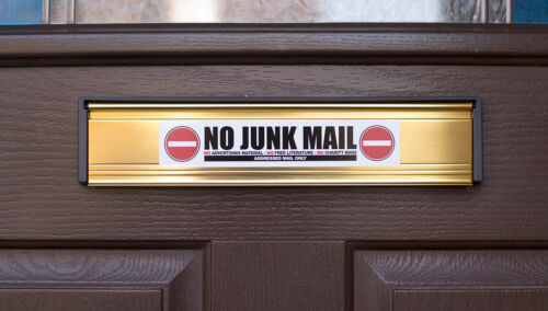 Charity Bags No Junk Mail Front Door Letter Box Sign // Sticker SKU010