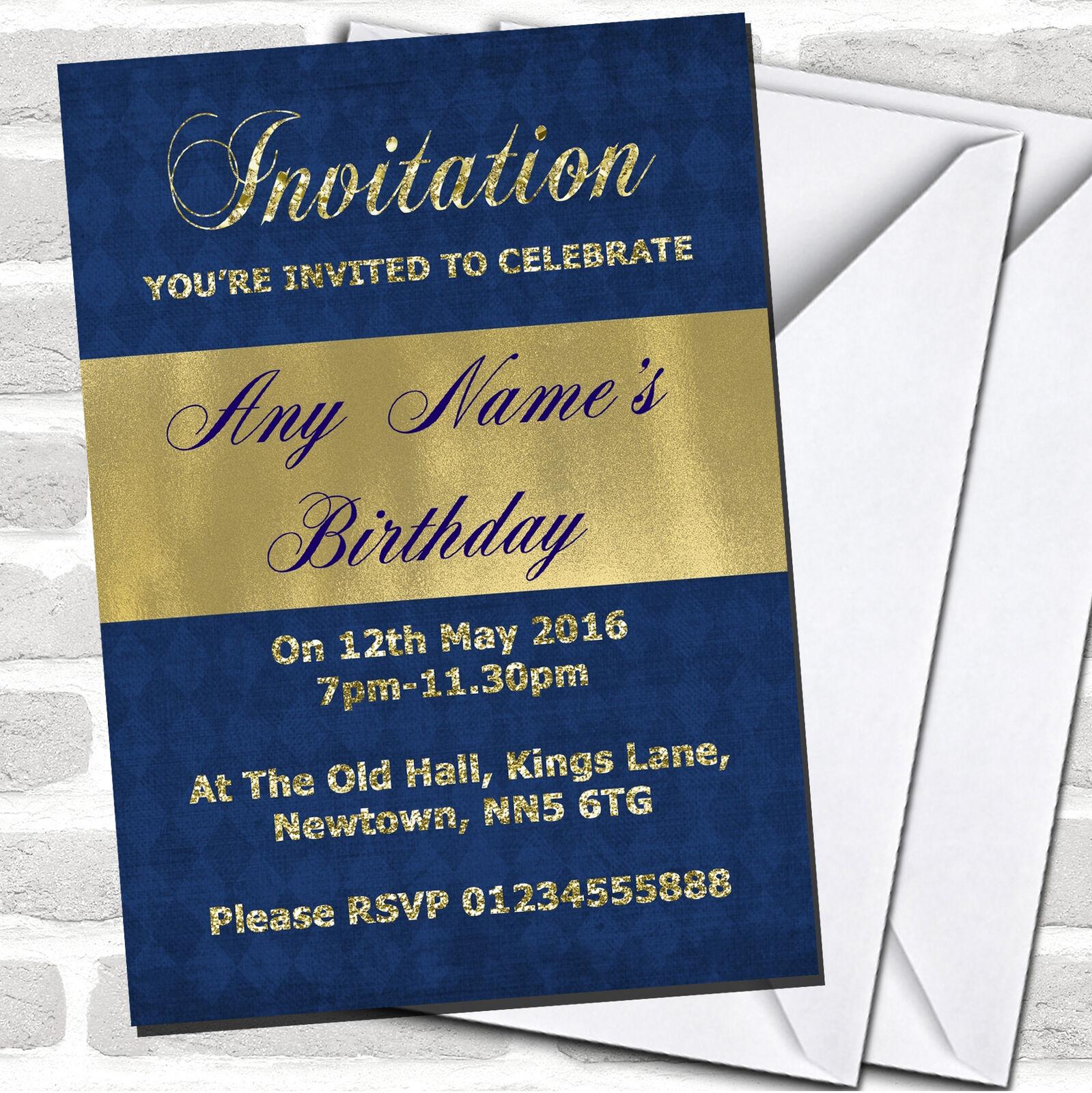 Azul Y Brillo Aspecto DE oro Invitaciones Fiesta De Cumpleaños