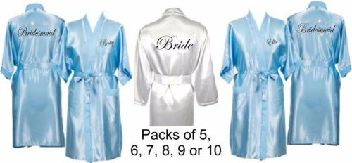 Personalised Wedding Robes Dressing Gowns Multiple Pack in Baby Blue Bridal