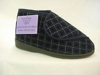 Mens Gents Bootee Slipper hook loop washable Wide Fit Adjustable Care Home OAP