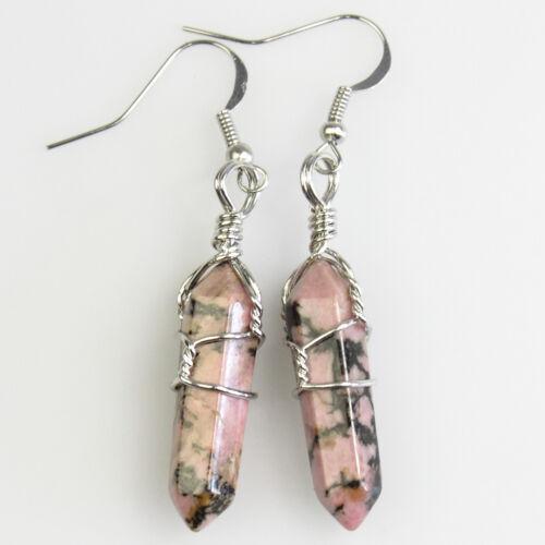 Amethyst Opalite Crystal Wire Wrap Hexagonal Healing Silver Hook Dangle Earrings