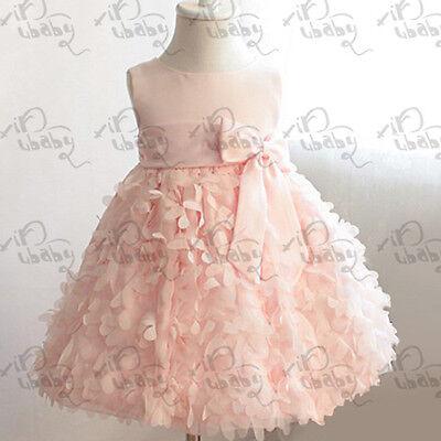 Girls Kids Pettiskirt Party Pageant Dress Flower Clusters Fluffy Bubble Skirt