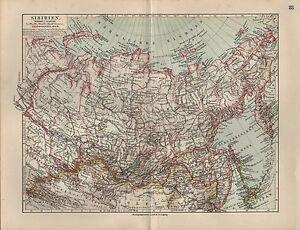 Landkarte-map-1912-SIBIRIEN-Russisches-Chinesisches-Reich-Asien