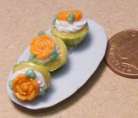 1:12 Scale Ceramic Tray Of 3 x Orange Rose Dolls House Miniature Cup Cakes PL72