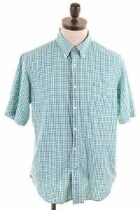 NAUTICA-Mens-Shirt-Large-Green-Gingham-Cotton