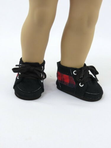 "Red Plaid Sneakers Fits 18/"" American Boy or Girl Doll Clothes Shoes"