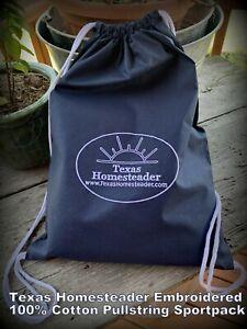 Texas-Homesteader-Embroidered-100-Cotton-Drawstring-Backpack-Cinch-Sacks